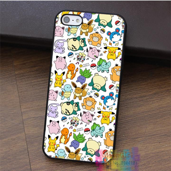 Cute Pokemon Doodle fashion cell phone case for iphone 4 4s 5 5s 5c SE 6 6s & 6 plus & 6s plus #LI0681(China (Mainland))