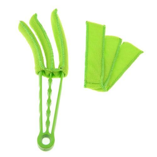 2015 Newest unique Microfiber Venetian Blinds Duster Slat Cleaner Triple Dust Clean Clip Brushes li711(China (Mainland))