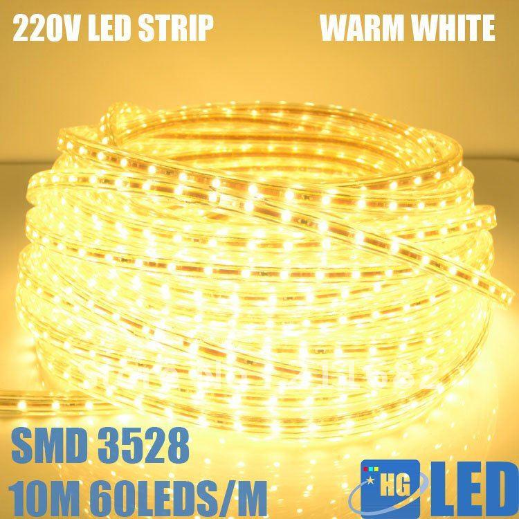 DHL FEDEX FREE SHIPPING +20M 220V High voltage 3528 led fstrip light+Power plug,warm white,60leds/m,4.8w/m,waterproof IP65(China (Mainland))