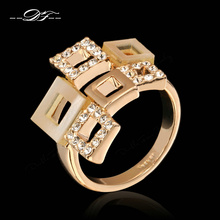 Classic CZ Stone Romantic Plaid Ring Wholesale 18K Gold Plated Austrian Crystal Jewelry For Women Gift anel aneis joias DFR072