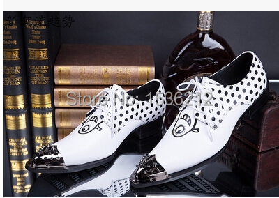Men Top Leather Oxford Shoes Iron Pointed Toe rivets casual shoes men lace up Korean polka leather shoes zapatos oxford mujer<br><br>Aliexpress