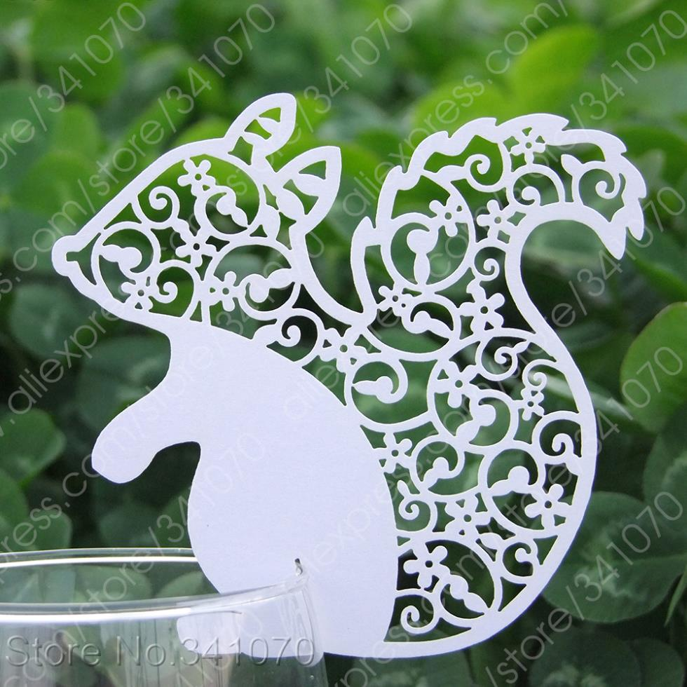 Laser Cut Paper Squirrel Place Cards / Cup Cards/ Wine Glass Escort Wedding Favors Party Decor, - SS01 Supplies Shop store