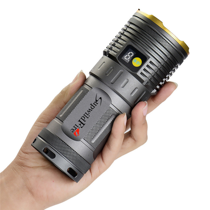 High Quality Supwildfire 30000LM 10 x XM-L T6 LED Power & Mode Digital Display Hunting Flashlight(China (Mainland))