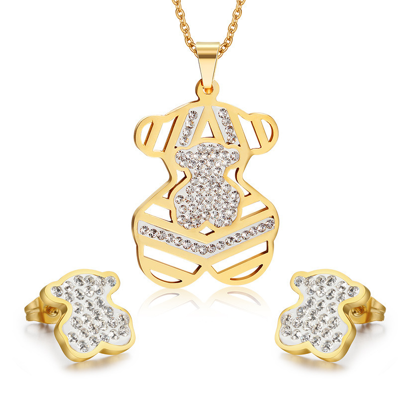18K Gold Plated Jewelry Set Stainless Steel Bear Jewelry Sets Crystal Jewelry Set for Women and Men Wholesale(China (Mainland))