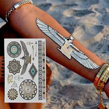 2015 NEW HOT Egyptian gold  temporary tattoo stickers Disposable gold flash tattoo Pharaoh Egypt  flash Metal Tattoo(China (Mainland))