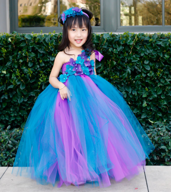 Purple and Peacock Blue Girl Flower Dress Girl TuTu Dress Baby Dress Toddler Tutu Dress Wedding Birthday Size 2T-8Y Customize(China (Mainland))