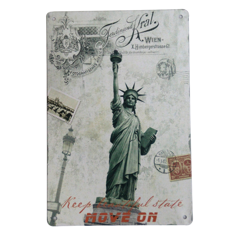 Vintage plaque home decor NEW YORK Statue of Liberty wall art metal tin sign 20X30CM Retro tin sign home bar pub decor TK-0566(China (Mainland))