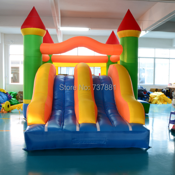 Super double slide inflatable bouncer bounce house bouncy castle jumping moonwalk(China (Mainland))