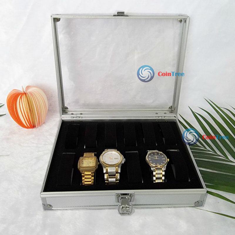 ChicGirl New Jewelry 12 Grid Slots Watches Display Storage Box Case Aluminium Square(China (Mainland))