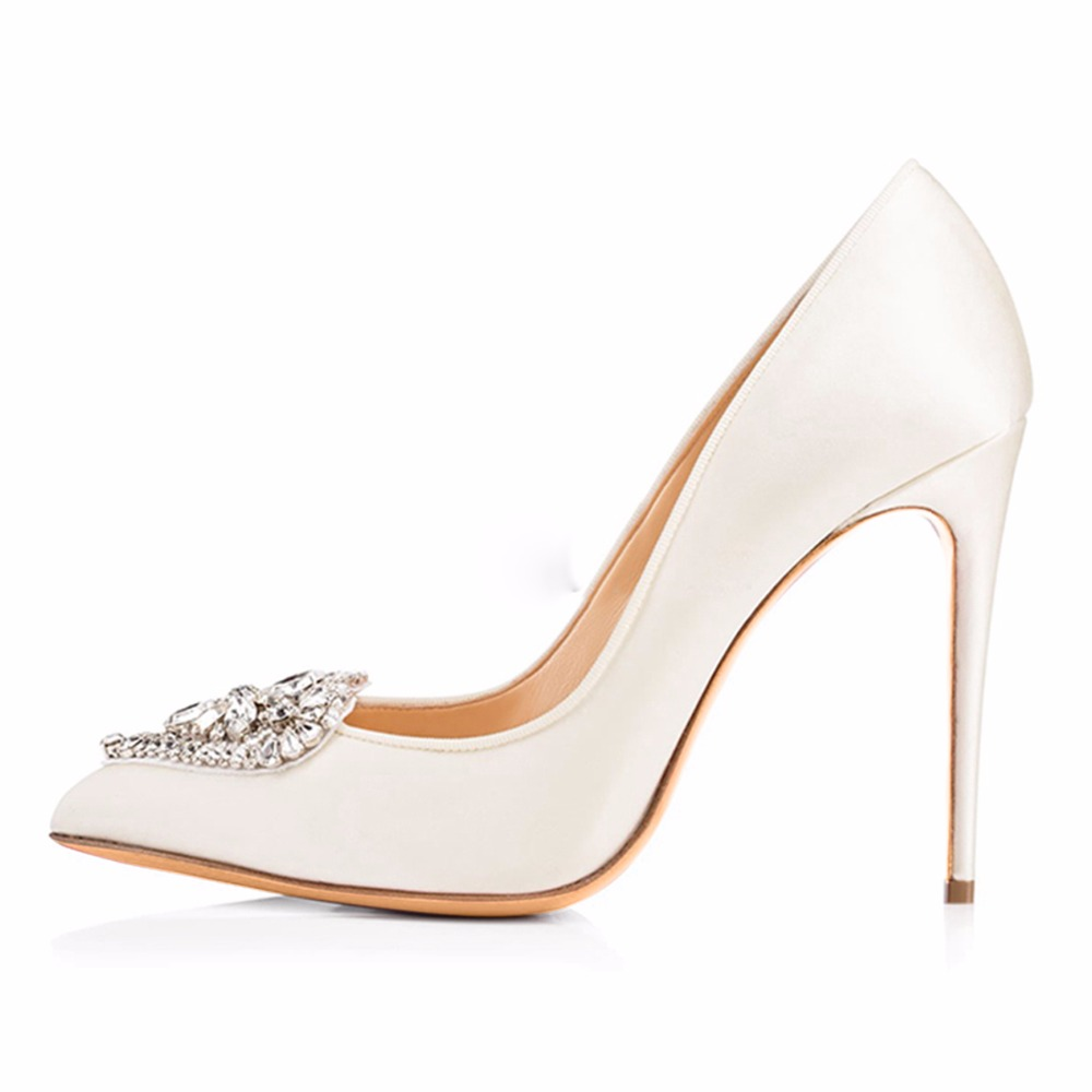 2016 Elegant Women's Pointy  Dress Pumps Black Or White Sexy High Heels 12cm Rhinestone OL Shoes  Plus Size Free Shipping