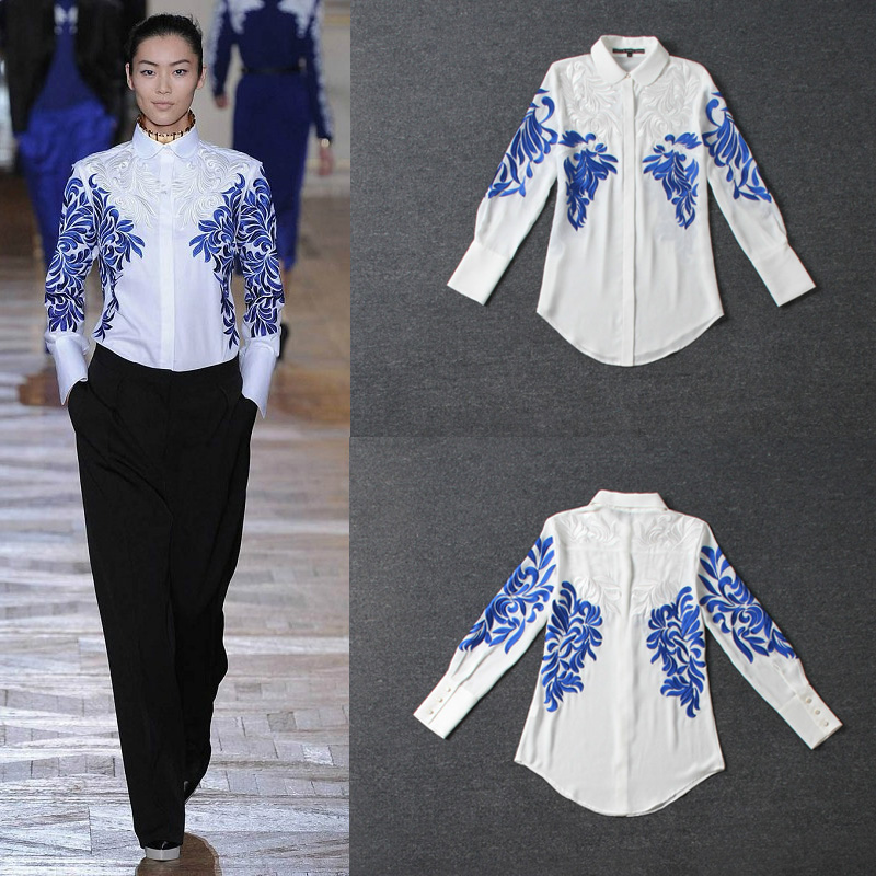 2015 spring high quality silk blending long sleeve shirts runway shirts embroidered plus size women shirts Blouses whiteОдежда и ак�е��уары<br><br><br>Aliexpress