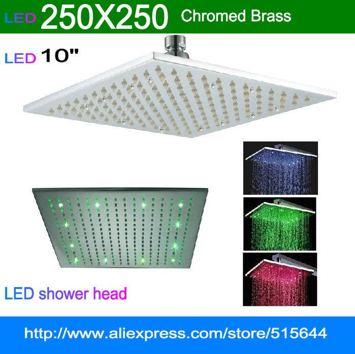"10"" square LED RGB light shower head brass rainfall for bathroom bath mixer faucet tap Mirror chromed brass(China (Mainland))"
