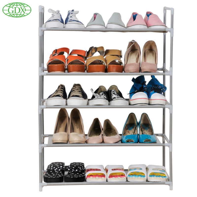 GDX 2pcs in 1 New 5 Tiers 15 Pair Shoe Shelf Rack Organizer Space Saving Shoe Rack Shoes Stand Organizer DIY Simple Organizadors(China (Mainland))