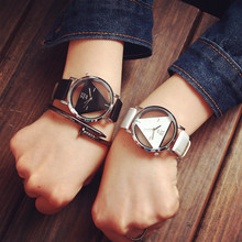 Hot Sale Fashion Triangle Transparent Dial Watch Women Dress Watches Leather Strap Quartz Watch Ladies Watch relogio feminino