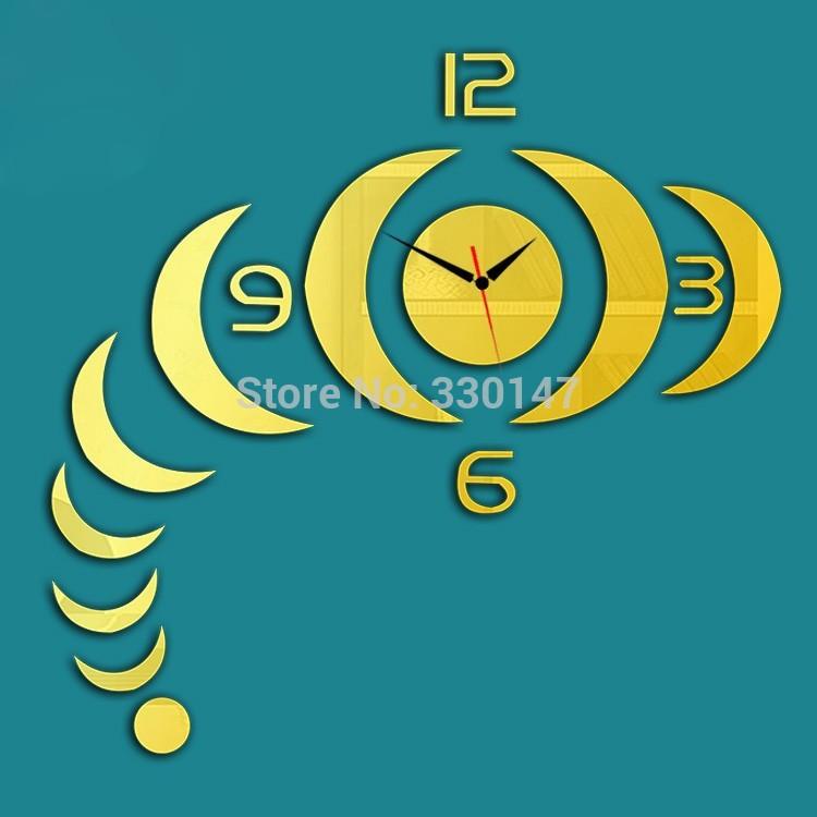 New 1 set Arc Stripe Shape Reflective Art Mural Watch Decorative Acrylic Mirror Face Plastic Wall Stick Clock For Home Decor(China (Mainland))