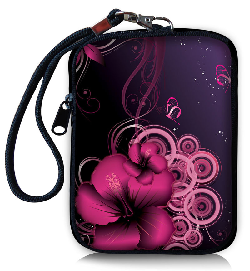 Fashion!Purple Flower Noble Soft Universal Compact Digital Camera Case Phone Bag Sleeve Pouch Cover Wallet Purse(China (Mainland))