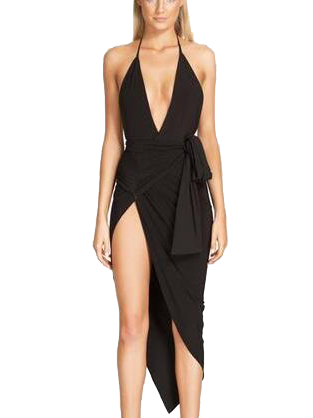 Backless Halter Wrap Spaghetti Strap High Side Slit Sexy Women Dress With Belt Bowknot Asymmetrical 2016 Fashion Party Club(China (Mainland))