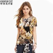 New 2016 Summer Harajuku 3d tshirt Weird Animal cat Printed T-shirt Womens t shirts Casual Tees Tops Punk Rock Style Plus size