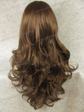 N12 6 8 Best Sales Top quality extra long brown curly synthetic lace front wig Free