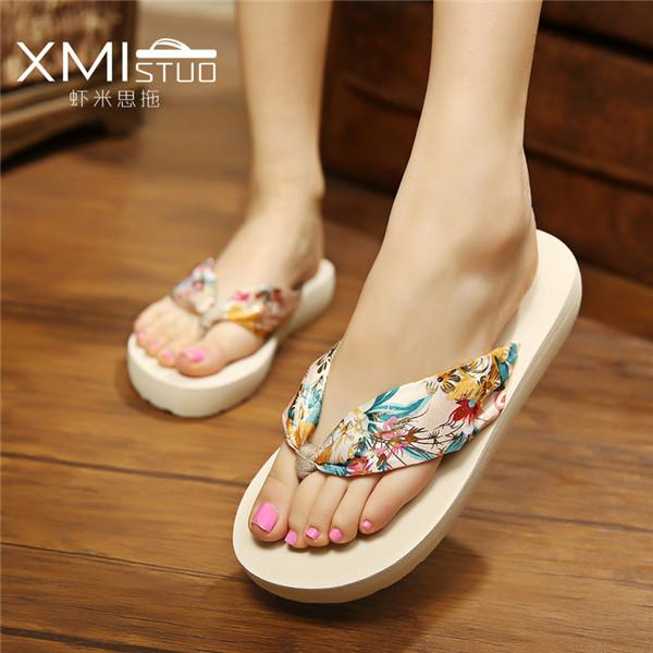 women sandals Fashion summer shoes flip flops women female beach slippers water-resistant high-heeled hand made flower(China (Mainland))