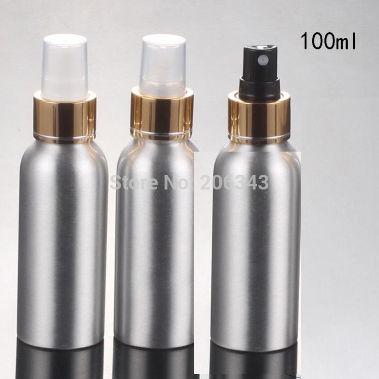 100pcs 100ml Aluminium bottle metal bottle spray bottle with shiny silver collar ,white/transparent/black sprayer mist sprayer