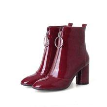EGONERY Chất lượng cao Chelsea Mắt Cá Chân Giày người phụ nữ bằng sáng chế da cao 7.5cm Gót Boot phong cách lạ Đảng rượu CướI Đỏ giày(China)