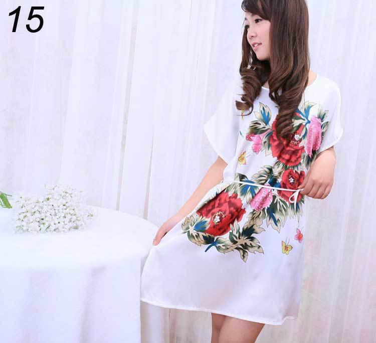 Drop Shipping Womens Sleepwear Satin Sexy Intimates Lingerie Dress Robes Nightgown Pajamas Women's Home Clothes Sleepwear(China (Mainland))