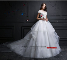 vestido de noiva 2016 Elegant Appliqued Beaded Chiffon Wedding Dress Vintage Lace A-Line Wedding Dress With Bowed Court Train(China (Mainland))
