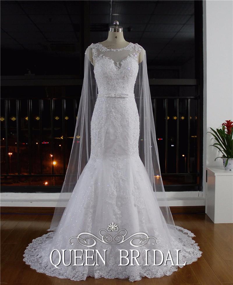 Реальные изображения сексуальная русалка совок рукавов кружева аппликации блесток свадебные платья на заказ Жилетidos Novia IV170