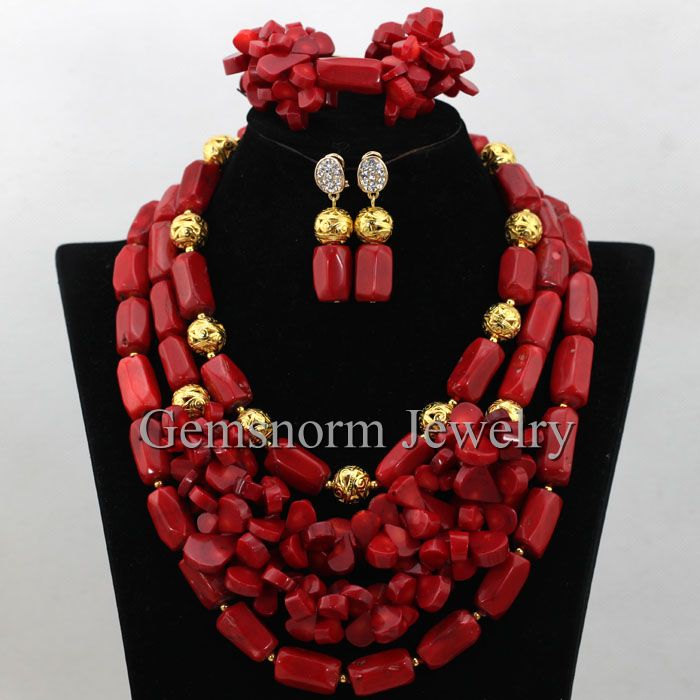 Latest Nigerian Wedding Red Coral Beads Necklace Set African Red Coral Beads Jewelry Set Women Gold Plated Free Shipping CNR402(China (Mainland))