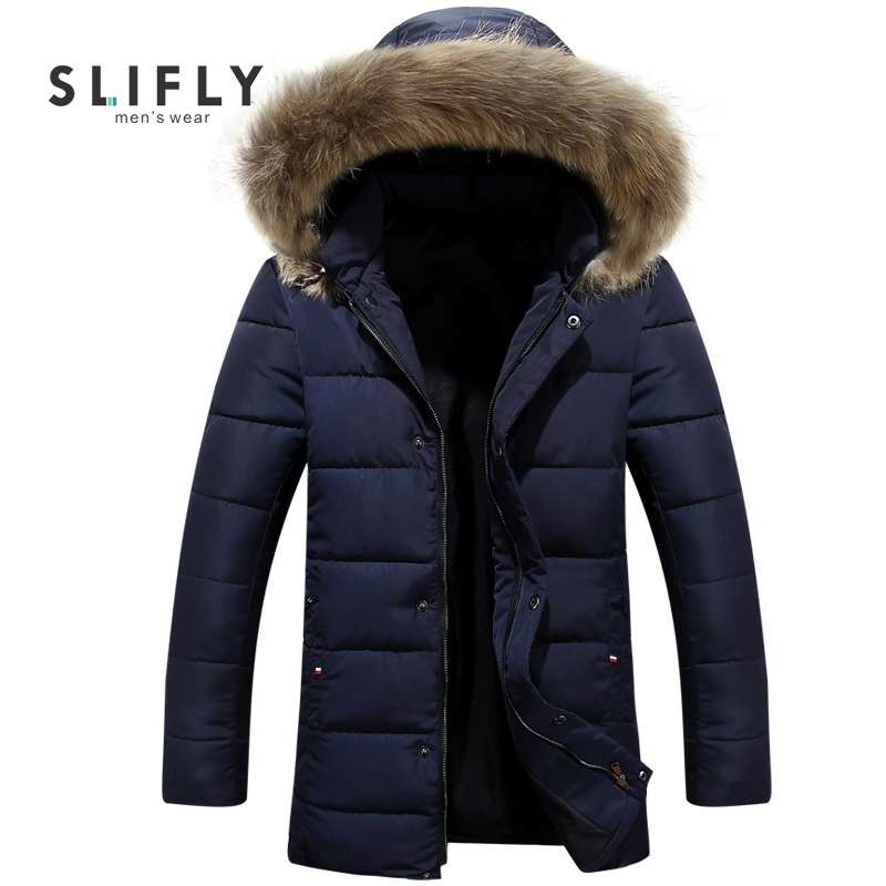 Plus Size 4XL Men's Winter Parka Fur Collar Hooded Removable Hat Solid Color Thicken Coat Zipper Warm Slim Parkas High Quality(China (Mainland))
