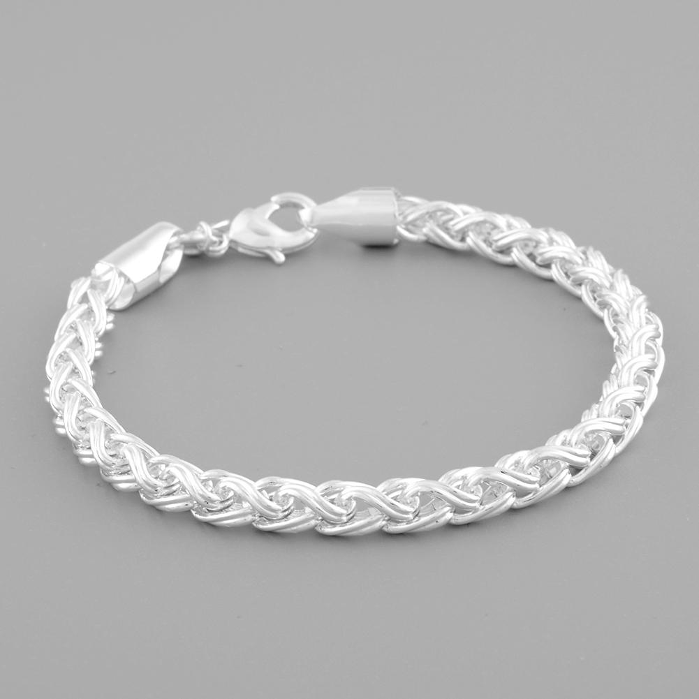 Гаджет  New Fashion 925 Sterling Silver Twist-linked Bracelet Charm Chain Cuff Bangle Women Lady Party Jewelry None Ювелирные изделия и часы