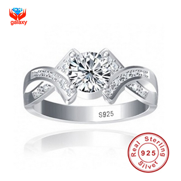 Sent Silver Certificate Real 100% 925 Sterling Silver Ring Sona 1 Carat CZ Diamond Wedding Engagement Rings For Women Y500011(China (Mainland))