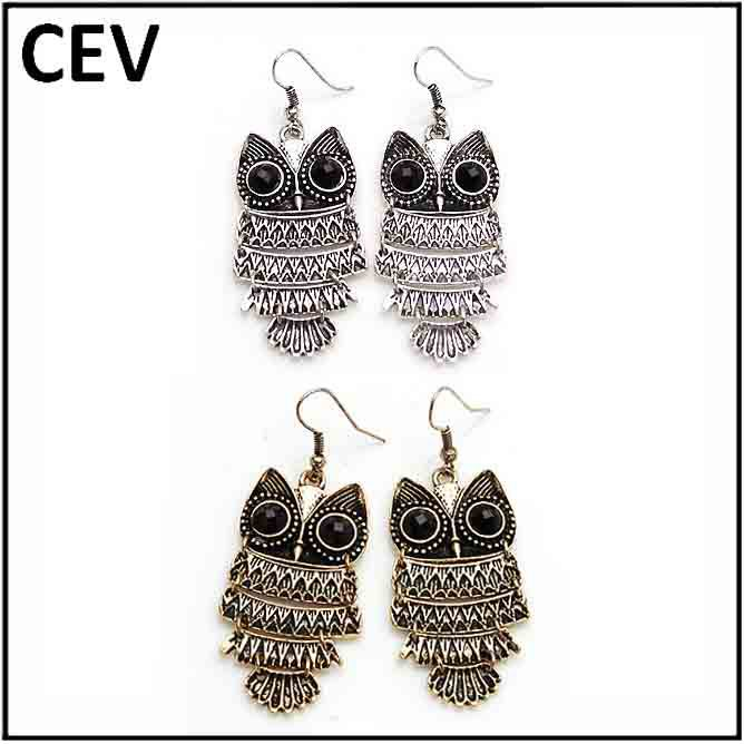 2014 New Vintage Owl earrings CEV hot sale retro owl earring fashion women earrings(China (Mainland))
