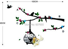 Hot sale!Free shippng!100pc/lot,60*33cm,wall sticker,decoration wallpaper,home sticker,tree bird wall sticker - HOUSEHOLD-- Ellie Shao's store