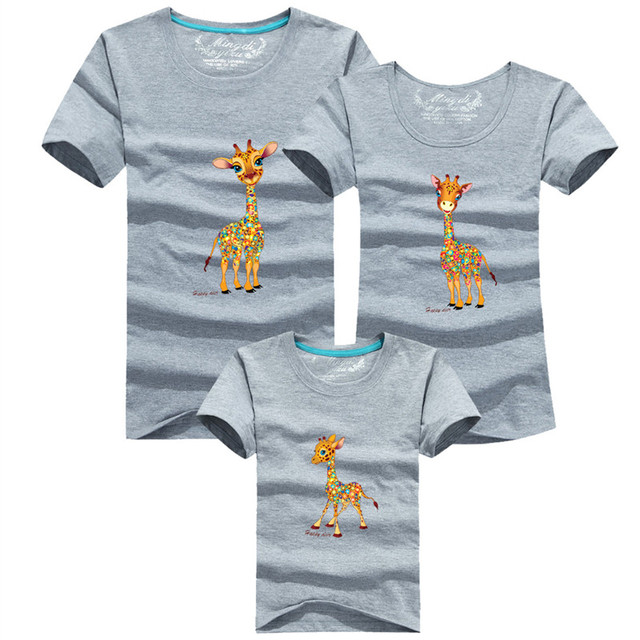 1psc мода семья взгляд мультфильм жираф печатный футболки 8 цветов лето семья одежда ...