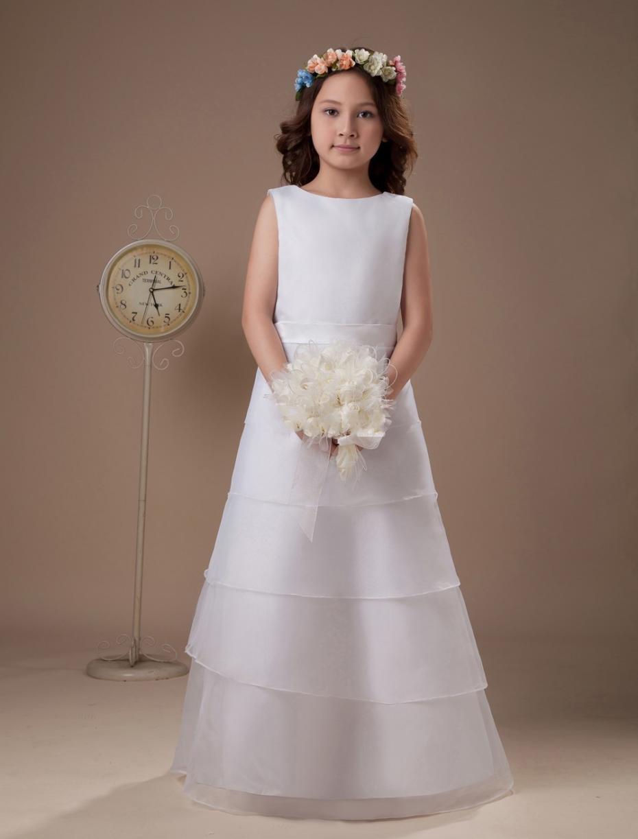 Simple longues couches blanc fleurs fille robes De Communion blanc première Communion robes robe De Daminha Para casamento, Fd003(China (Mainland))