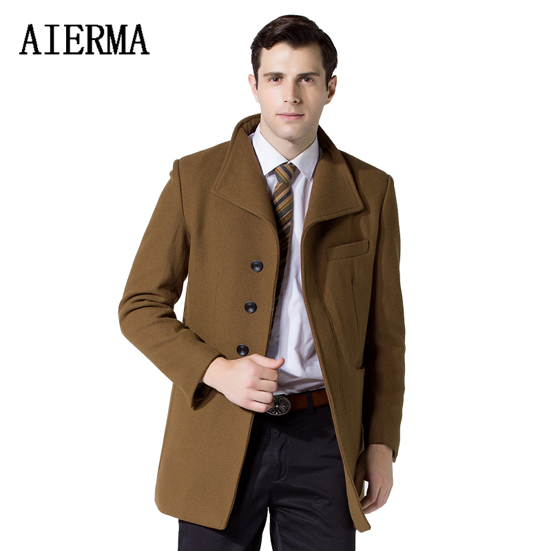 AIERMA men's long wool coat slim solid single breasted turn-down collar woolen high quality brand clothing men trench overcoat(China (Mainland))