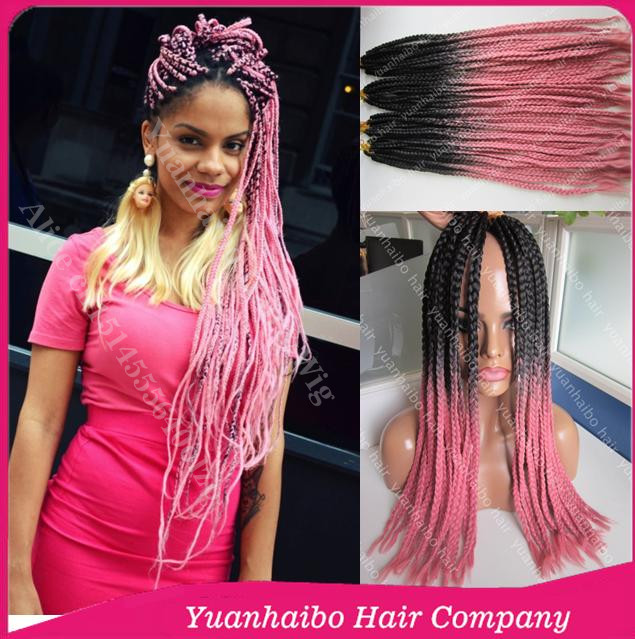 """2016 New Stock! 22"""" two tone black/pink flat braids ombre synthetic braiding hair free shipping(China (Mainland))"""
