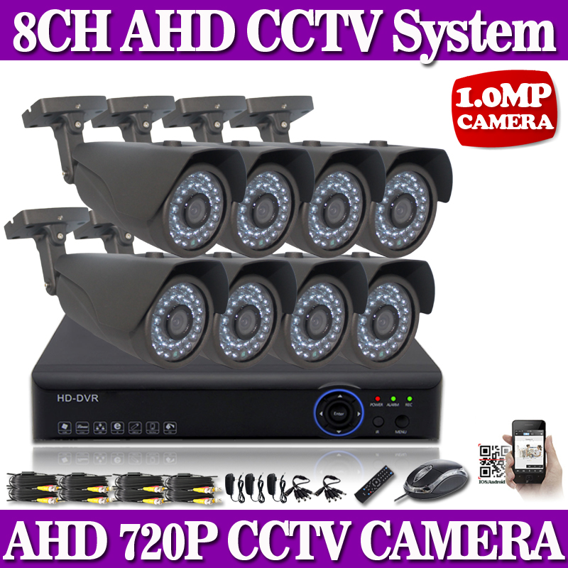 CCTV 8CH AHD 960P DVR Night Vision IR 720P HD CCTV Security Cameras System QR Support 3g wifi mobile phone view 8CH AHD DVR Kit<br>