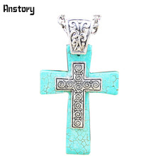 Vintage Look Tibet Alloy Silver Plated Retro Craft Fantastic Cross Turquoise Pendant Necklace N181(China (Mainland))