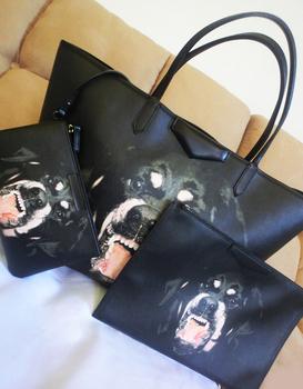 Large rottweiler dog unhide big bag shoulder shopping cosmetic bag 3pcs/sets