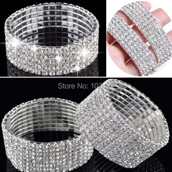 Hot Fashion 4/5/8 Rows Crystal Rhinestone Wedding Bridal Bracelet Bangle Bling Wristband Women Jewelry Drop Ship(China (Mainland))