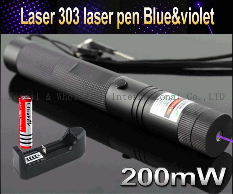 Top Laser 303 200mW blue & violet Laser Pointer Adjustable Focal Length and Star Pattern Filter+3000mah 18650 battery+charger(China (Mainland))