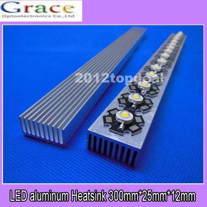 1pcs High Power LED aluminum Heatsink 300mm*25mm*12mm for 1W,3W,5W led emitter diodes(China (Mainland))
