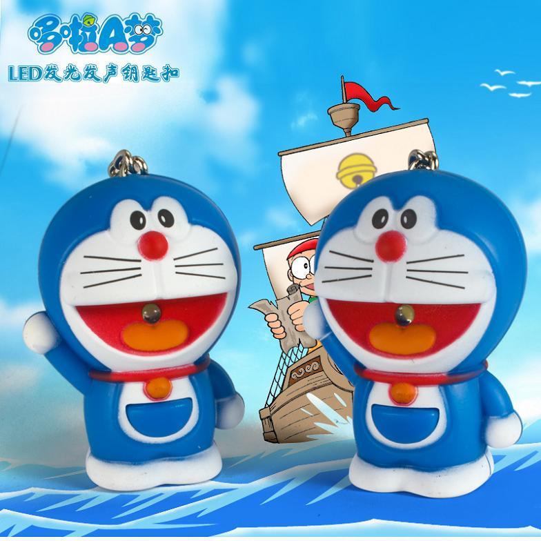 Fashion Jewelry Doraemon keychain LED key ring Japanese Sound-emitting toy Accessories Mini Flashlight Torch pendant 10pcs/lot(China (Mainland))