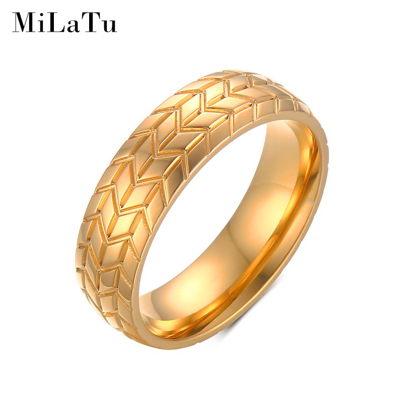 MiLaTu Fashion Men Ring Gold Plated Stainless Steel Tyre Design Groove Ring Men Jewelry Wedding Band Rings For Male Bijoux R455G(China (Mainland))