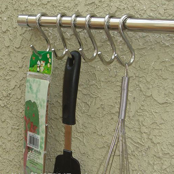 5pcs Bucket Hook Stainless Steel Powerful Silver S Shape Kitchen Hanger Clothes Hooks Clasp Holder Butcher Hanging Hooks(China (Mainland))