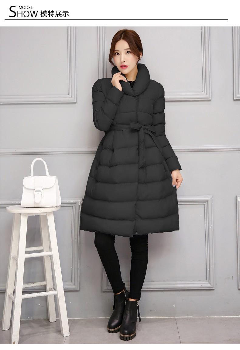 Скидки на 2016 Зима новый Женщин Куртка Средней Длины разделе Вниз Хлопка Пальто с толстой теплой Одежды