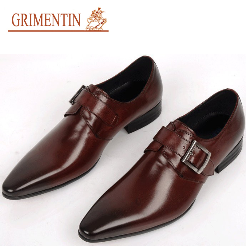 2016 New Men Dress Shoes Buckle Strap Genuine Leather Italian Luxury Men's Leather Shoes For Wedding Party Size38-44 OX15(China (Mainland))